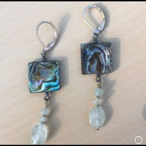 Vintage abalone & moonstone earrings